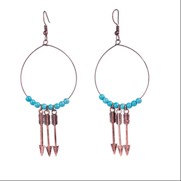 West & Co - Burnished Copper with 3 Arrow and Turq Beaded Wire Teardrop Earrin