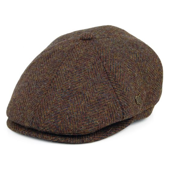 Peaky Stud Cap-Brown Harringbone
