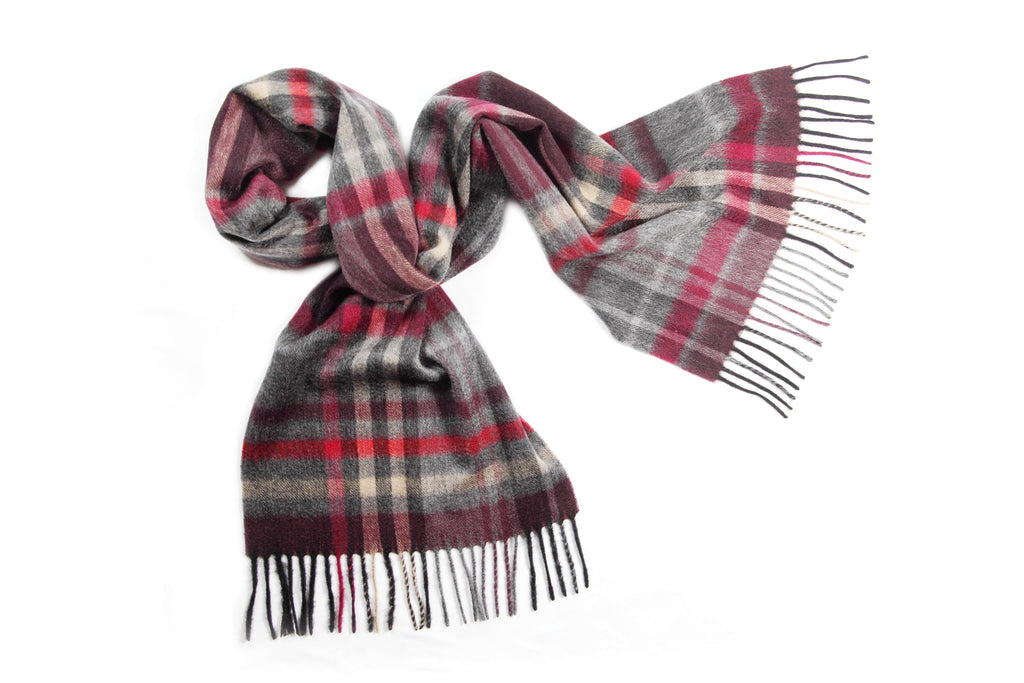 100% Cashmere Scarf Maroon and Grey Check