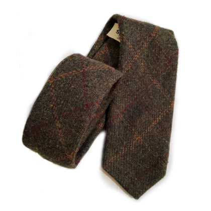Grey Check Tweed Tie-britishsouvenirs