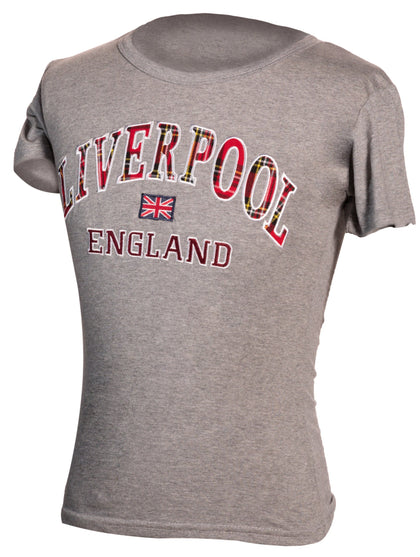 Liverpool Embroidered T-Shirt : Grey - britishsouvenirs