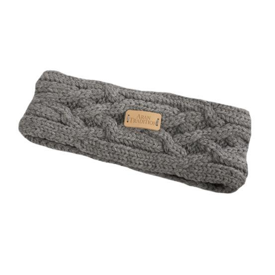 Aran Knit Headband Steel Grey