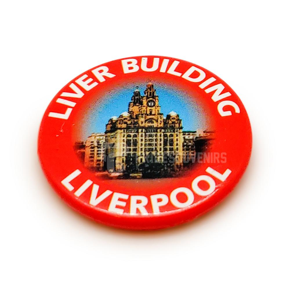 Liverpool Button Badge - Liver Building