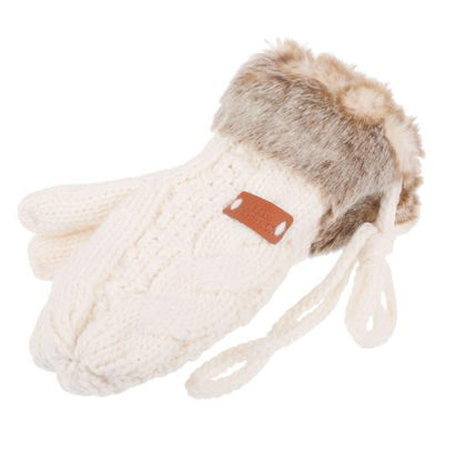 Knitted Faux Fur Mitten- Cream - britishsouvenirs