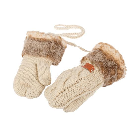 Knitted Faux Fur Mitten- Oatmeal