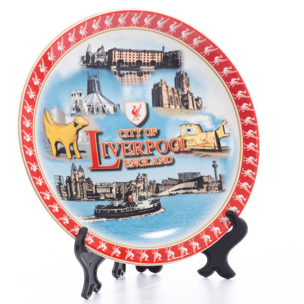 Red Liverpool Decorative Plate with Stand Small
