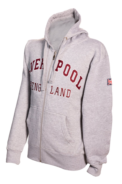 Sweatshirt Liverpool England Grey-Maroon Zipper Adult