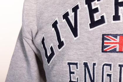 Sweatshirt Liverpool England Grey-Navy Pullover Adult