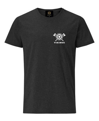 York Viking Embroidered Axe & Shield T-Shirt- Charcoal Melange -British souvenirs
