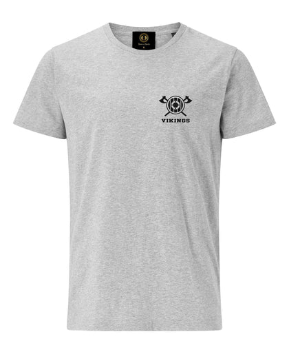 Embroidered Axe & Shield T-Shirt-Grey - Britishsouvenirs