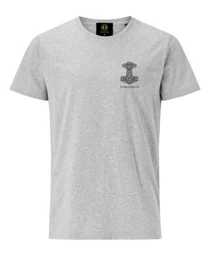 Thor Hammer Embroidered T-Shirt -Grey - Britishsouvenirs