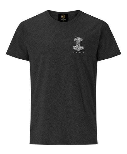 Thor Hammer Embroidered T-Shirt- Charcoal Melange -Britishsouvenirs