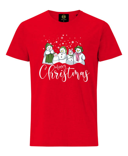 Christmas Snowman Family T-Shirt- Red