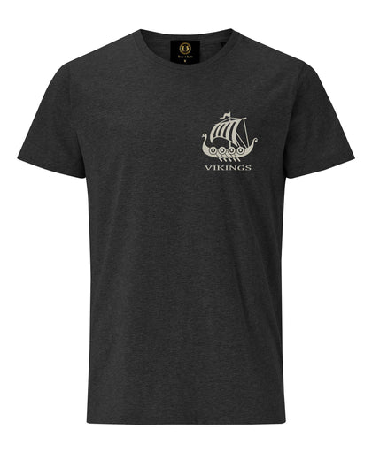 Viking Long Boat Embroidered T-Shirt- Charcoal Melange - Pridesouvenirs