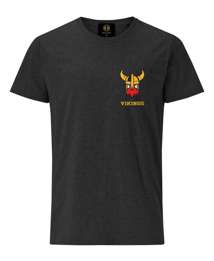 Viking Helmet embroidered T-shirt- Charcoal Melange - Pridesouvenirs
