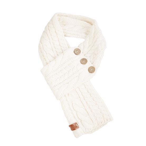 Celtic Cable Button Wrap Scarf Cream colour
