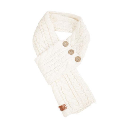 Celtic Cable Button Wrap Scarf-Cream colour - britishsouvenirs