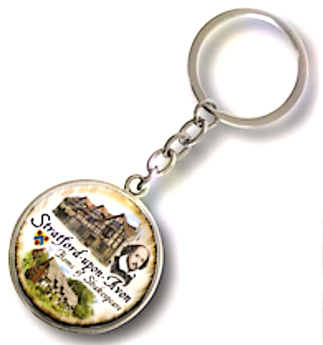 STRATFORD UPON AVON SCENES ROUND METAL KEY RING