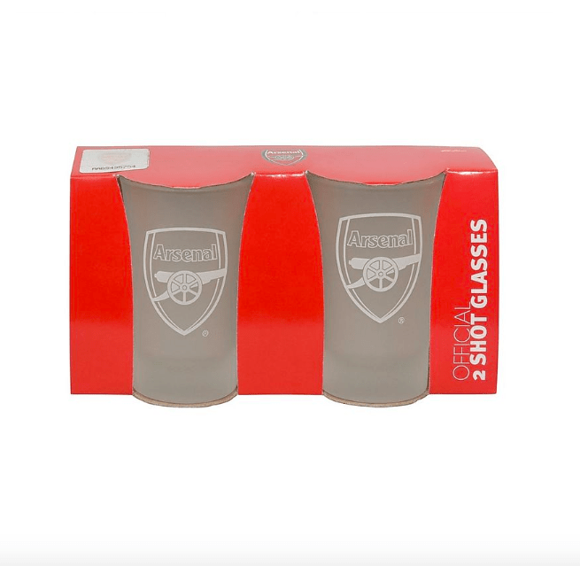 Arsenal Football Club Shot Glass Frosted- Pack of 2