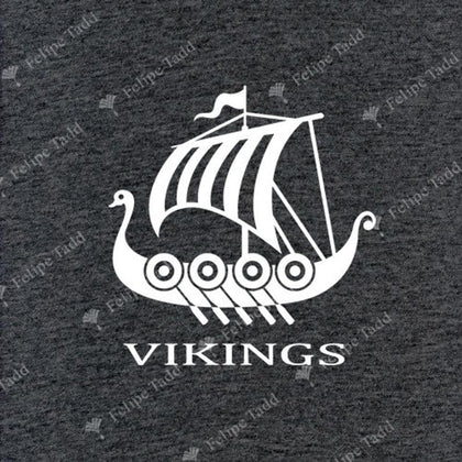 Viking Long Boat Embroidered T-Shirt- Charcoal Melange - Britishsouvenirs