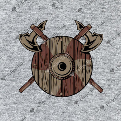 Viking Shield With Axes T-shirt- Grey - Britishsouvenirs