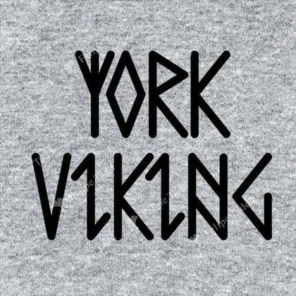 York Viking In Runes Printed T-Shirt- Grey -Britishsouvenirs