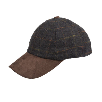 Tweed Suede Baseball Cap-Blue Check - britishsouvenirs