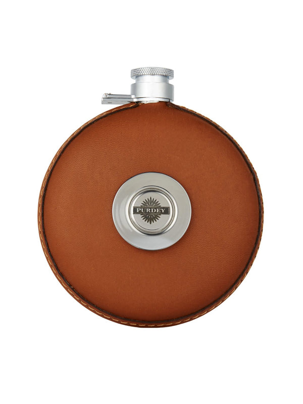 Round leather flask with tot