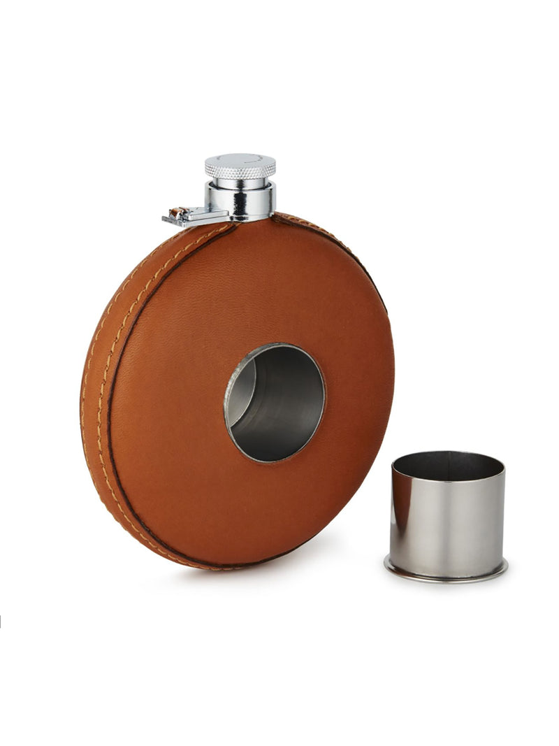 Purdey - Round leather flask with tot