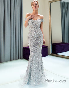 Mermaid Off-the-Schulter Lange Silber Abiballkleid mit Pailletten