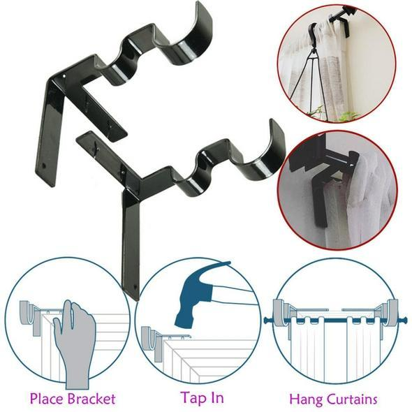 【60%↓】Double Center Support Curtain Rod Bracket (2 pcs)