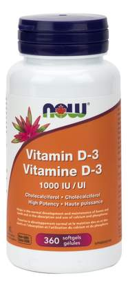 NOW Vitamin D-3 1000IU (360 softgels)
