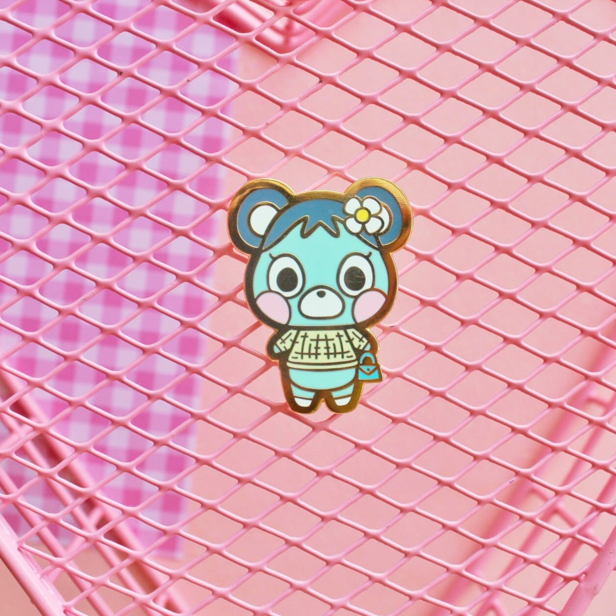 Teal Bear Enamel Pin