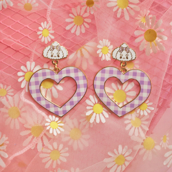 Poodle gingham  Earrings