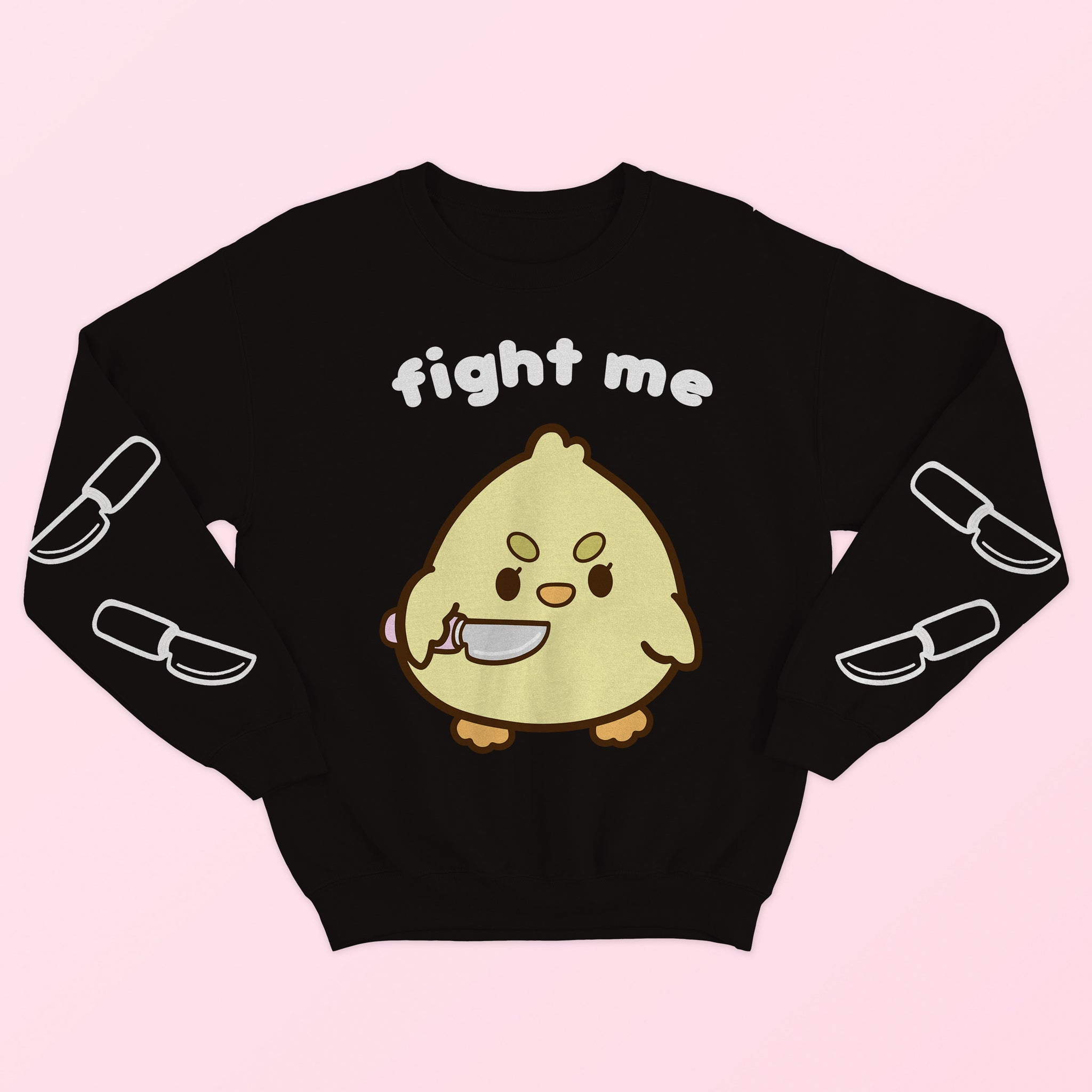 Fight Me Sweater Black