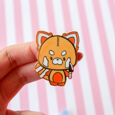Knife Red Panda enamel  Pin