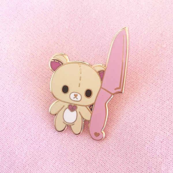 Knife Bear enamel  Pin