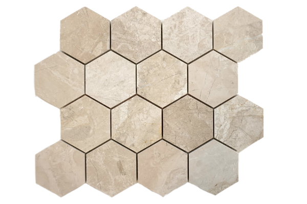 "Cream Misto 3"" Hexagon Polished"