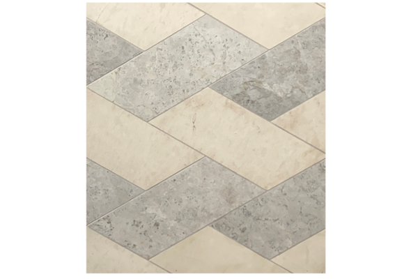 Aero Cream Limestone and Tundra Grey Mosaic Swan, Waterjet. Altura Stone and Tile. White, Grey.