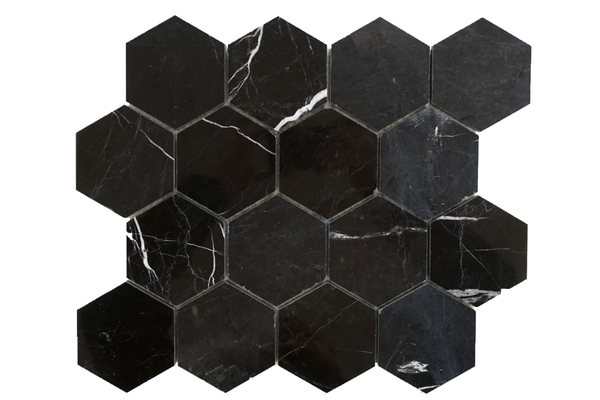 "Black Silk 3"" Hexagon Polished"