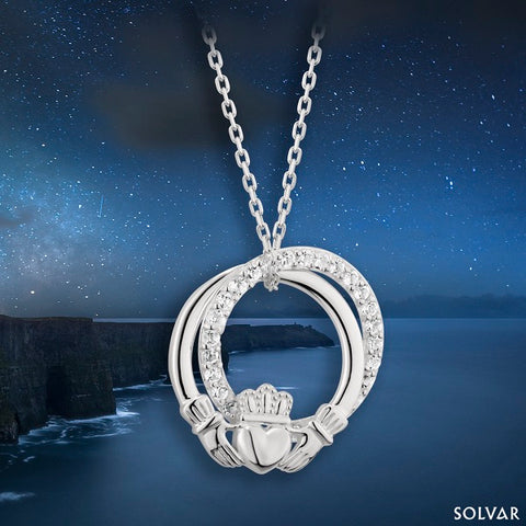 10K Trinity Knot Necklace with Diamond Accents.
