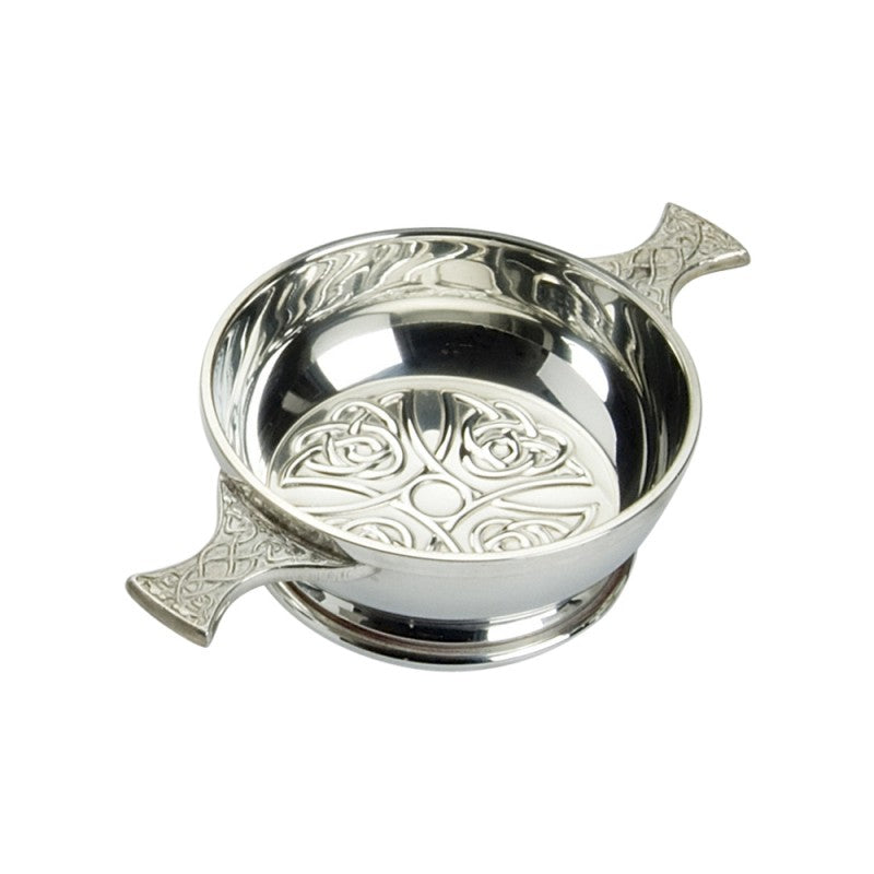 Celtic Cross inlayed in the bottom of this 4 inch quaich made from 100% lead free pewter.  Celtic Corner
