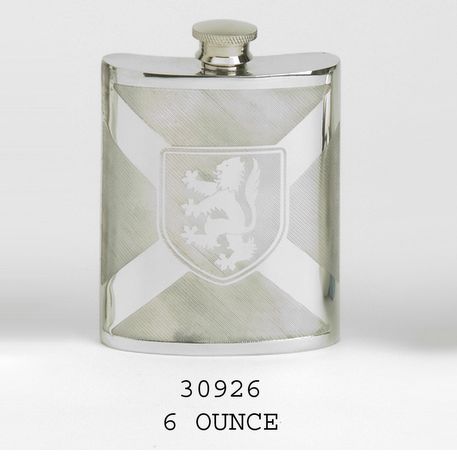 Lion and Saltire hip flask - 6 oz size in 100% lead free pewter.  Made in England.  Scottish Treasures Celtic Corner