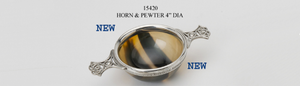 Horn quaich with pewter rim and handles.  Made in Sheffield England,  Scottish Treasures Celtic Corner