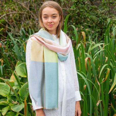 Allie Opal Summerweight scarf in a blend of merino, cashmere and silk.  Shades of summer with pink, blue, and yellow.  Made in Scotland.  Scottish Treasures Celtic Corner