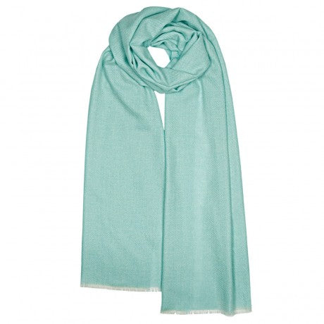 Catrine Stardust pale blue scarf in a blend of Cashmere, Wool and Polyester.  Made in  Scotland.  Scottish Treasures Celtic Corner