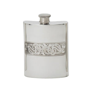 Celtic Serpent Panel Flask (6 oz) - Celtic Corner / Scottish Treasures