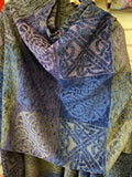 Celtic ruana with knotwork in colors of blue and gray