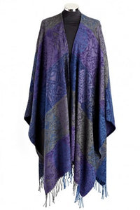Purples and grays make up this ruana called Pewter.
