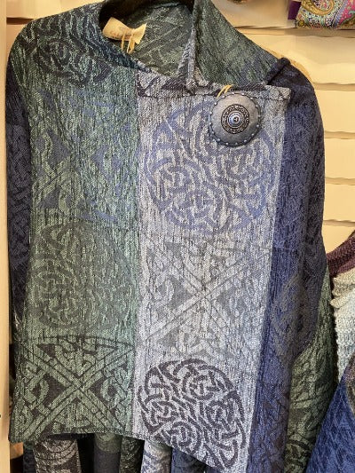 Celtic Ruana with slate grey colors and purple